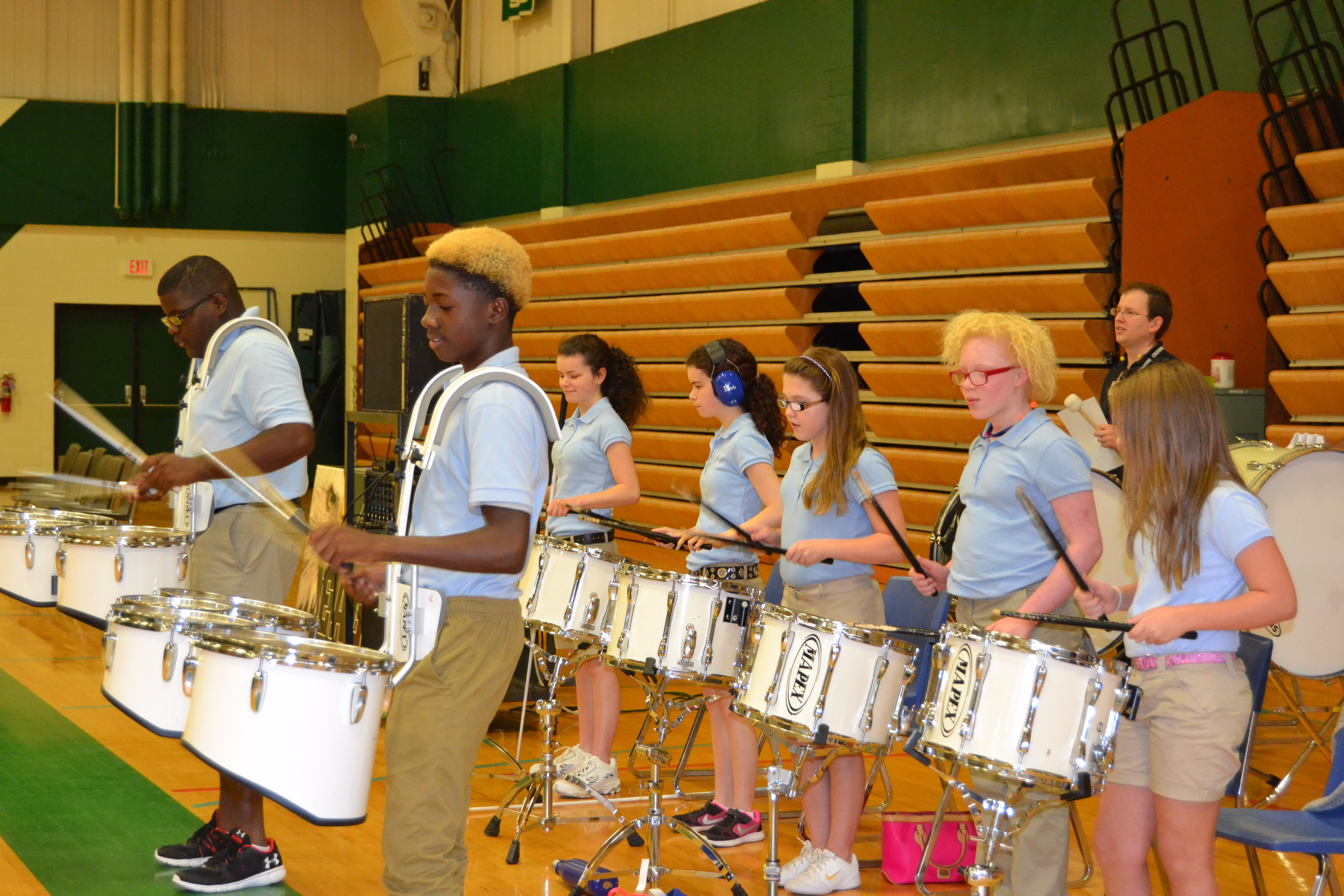 Mister Mike leads the drumline at an LSD pep rally