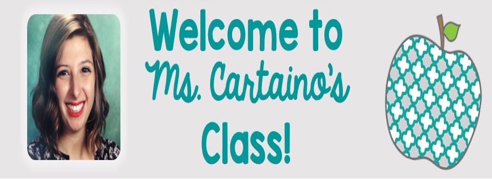 Ms. Cartaino and apple; Welcome to Ms. Cartaino's Class