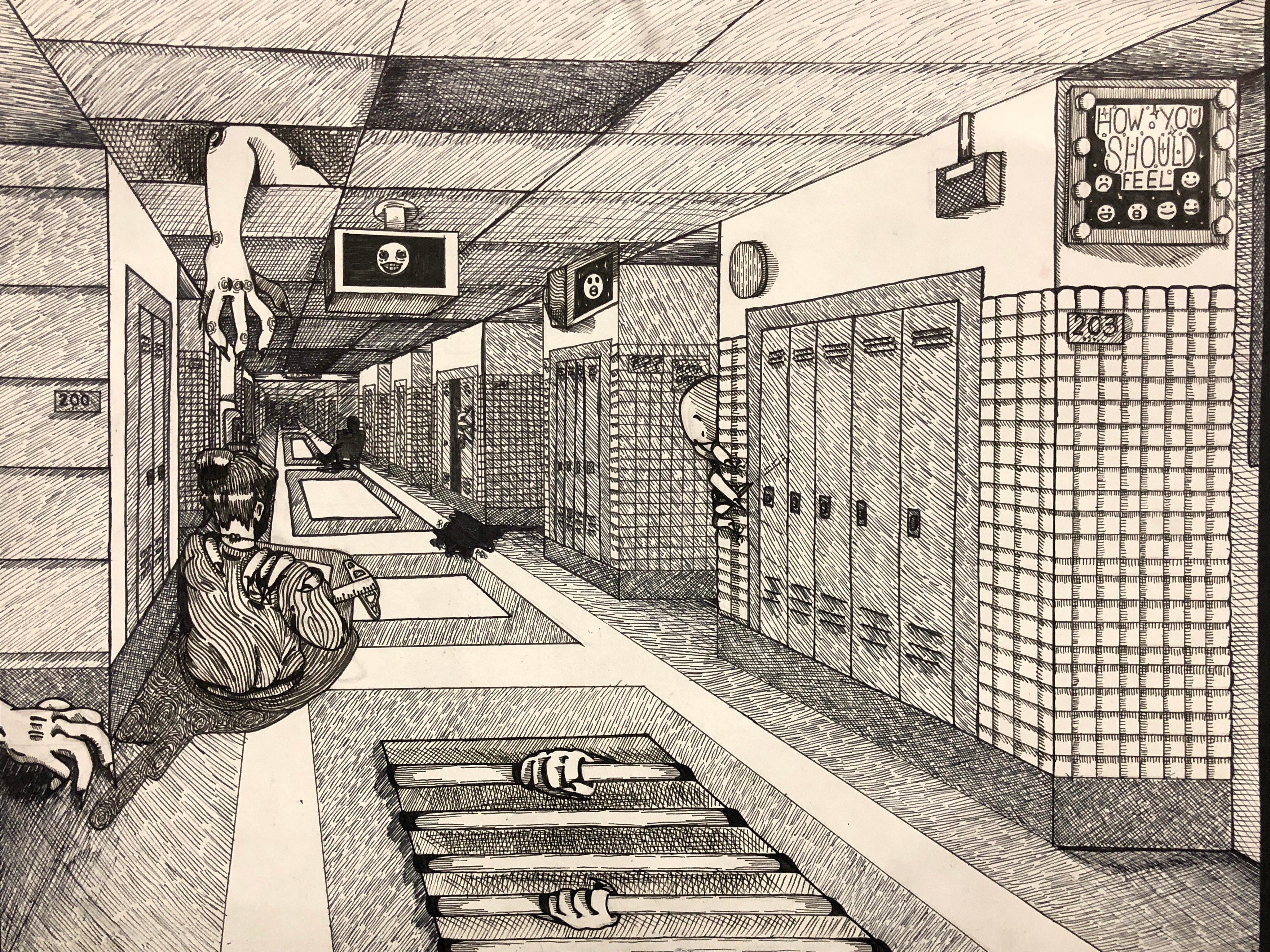 Art 2: Altered Hallway in 1 Point Perspective