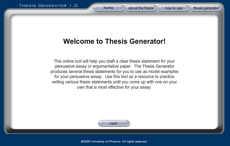 thesis statment generators Analytical thesis statements in an analytical paper, you are breaking down an issue or an idea into its component parts, evaluating the issue or idea, and presenting this.