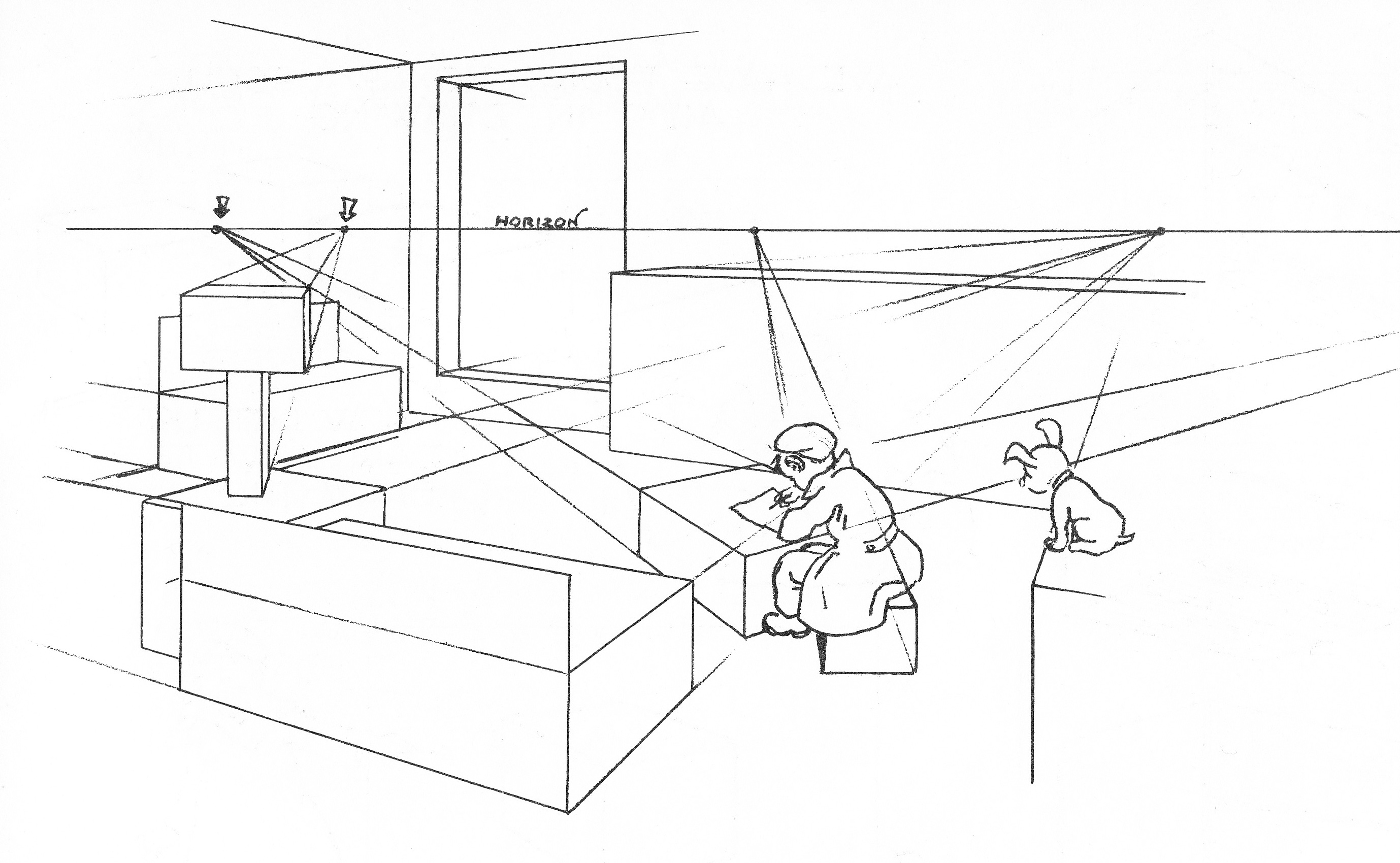 Norling's Illustrations Of How To Draw A Corner Of A Living Room And  Objects On Various Eye Levels: